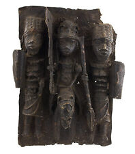 BRONZE AFRICAIN BENIN-PLAQUE DE PALAIS BINI EDO OBA  NIGERIA-45x34-1274