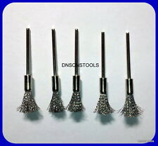 5X CARBON STEEL WIRE 5MM BRUSHES COMPATIBLE WITH DREMEL ,FOREDOM  MULTI TOOL