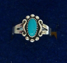 size 6 Sterling Silver 12x8mm Fancy Oval top Blue Turquoise Solitaire 2mm Ring