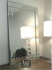 """Lewis Silver Glass Framed Rectangle Art Deco Wall Mirror 36"""" x 24"""" Large"""