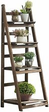 Foldable 4-Tier Ladder Bookcase Storage Rack Bookshelf Plant Stand Display Shelf