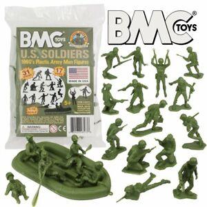 """BMC 48573 """"WWII U.S. Soldiers w/Raft"""" 31pcs 1/32 Green Plastic Army Men"""