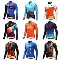 Men's Long Sleeve Cycle Jersey Top Reflective MTB Cycling Bike Bicycle Shirts