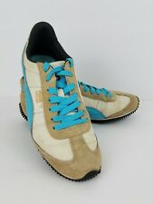 Puma Speeder Casual Retro Mesh Leather Sneakers Shoes Running Tan Blue Sz 6 EUC