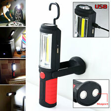 Portable Magnetic Rechargeable 360°COB LED Work Light Hand Torch Lamp W/Hook