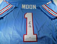 WARREN MOON / NFL HALL OF FAME / AUTOGRAPHED OILERS BLUE CUSTOM JERSEY / COA