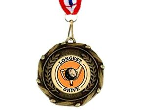 LONGEST DRIVE MEDAL trophy & ribbon award GOLF trophies