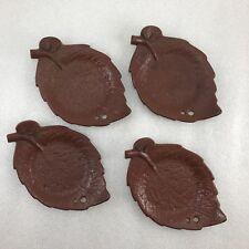 Z10 Japanese Iron Leaf-shaped TEA CUP TRAY Saucer Chataku 4pcs, Tea Ceremony