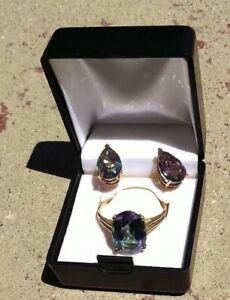 10 KT YELLOW GOLD AND TREATED RAINBOW TOPAZ 2 PIECE RING AND EARRINGS SET RING S