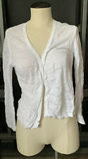 Cynthia Rowley Womens Open Front Sweater Jacket White Long Sleeve 100% Linen S