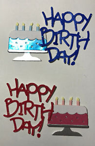 Two Birthday Celebration Cake Cakes & Phrase Card Scrapbooking Die Cuts