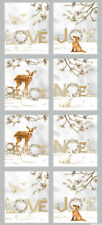 Christmas PANEL Peace Joy Love White Silver Robert Kaufman Quilting Fabric