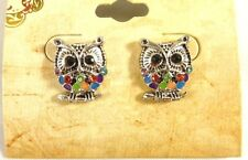Super Cute New Owl Stud Earrings with Colorful Crystals NWT #E1228