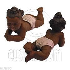 Dark Resin Baby Girl Doll 1:12 Scale Art Figure Doll's House Dollhouse Miniature