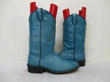 Laredo Teal Leather Roper Cowboy Boots Womens Size 6.5 M Style 6928 USA