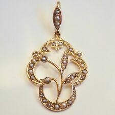 Charming Antique Art Nouveau 9ct Gold Pearl set 'Foliate Motif' Pendant c1909