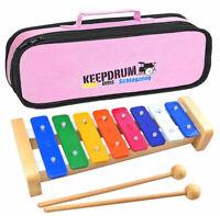 KEEPDRUM KGS2 Glockenspiel für Kinder + Keepdrum Tasche Pink