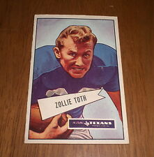 1952 DALLAS TEXANS ZOLLIE TOTH BOWMAN LARGE FOOTBALL CARD #58