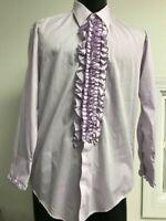 Retro purple ruffle tuxedo shirt