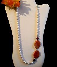 Collar Largo Perlas Barroco Cultivada ágata Coral Raíz de rubí - Necklace