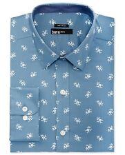 NWT $94 BAR III Men's SLIM-FIT BLUE FLORAL LONG-SLEEVE DRESS SHIRT 17-17.5 34/35