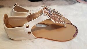 WHITE JEWELLED SHOES SIZE 4 BRAND NEW