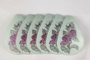 """6 Touch Lamp Shades Glass Panels Purple Roses Butterfly White Small 6""""L x 3.75""""W"""