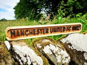 Carved Wooden Manchester United Sign
