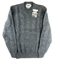 Vintage Woolrich NWT Men's Pure Wool Crew Neck Blue Gray Cable Knit Sweater M