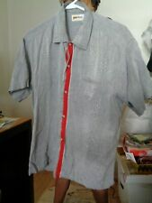 Puritan 50's-60's Iridescent Silver + Red Stripe Button Front Rockabilly L