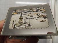 Ancien coffret boite a bijoux miroir art deco voiture Dunkerque Jean Bart 60's