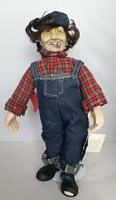 Vintage Hobo Junction Smilin Freddy Collectors Doll Porcelain & Plush w/Stand
