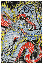 Dragon in Indigo by Clark North Tattoo Art Print Japanese Traditional Artwork