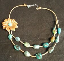 AIL Aluma Turquoise 925 Silver Necklace Leather Flower Classy Look