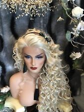 "AWESOME  32"" Curly LONG Platinum Blonde Lace Fr  HUMAN HAIR BLEND Wig!"