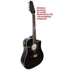 Chitarra Acustica 12 Corde Nera Elettrificata Cutaway 4b+Accordatore integrato