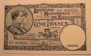 1938 Belgium 5 Francs CH CU Original Belgian Belgique Paper Money Currency P108
