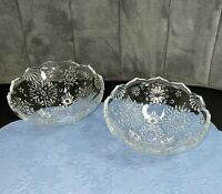"""2 Mikasa Crystal Tri-Footed Bowl Holiday Classics SNOWFLAKE 6"""" Clear Glass MINT"""