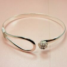 925 STERLING SILVER Filled Rose FLOWER or Twisted Style CUFF Bangle BRACELET
