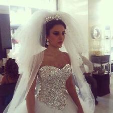 Prinzessin Weiß Elfenbein Kristall Brautkleid Hochzeitskleid 32 34 36 38 40 42+