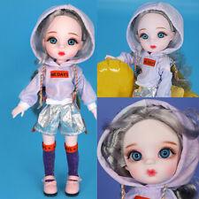 30cm BJD Doll 1/6 Ball Jointed Doll Mini Girl Grey Hair Full Set Makeup DIY Gift