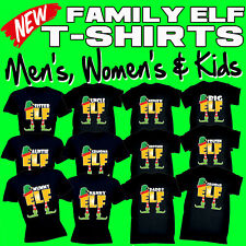 ELF Family Christmas T-Shirts - Novelty X-mas Day Black T Shirt - Gift Present
