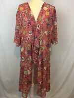 Lularoe Shirley Open Front Cardigan Floral Size M Lightweight Kimono