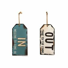 Rustic Metal In Out Signs for Home Office Store Business Bar Door Set of 2