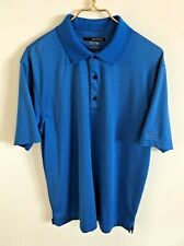 GREG NORMAN Men's Play Dry Blue Short Sleeve 100% Polyester Golf Polo-Size L