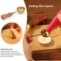 Vintage Brass Wax Melting Spoon Stamp Seal DIY Wood Handle Sealing Wedding Tool