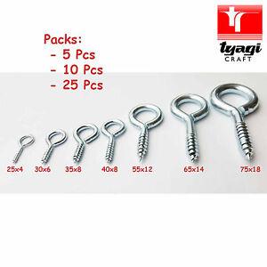 HEAVY DUTY STEEL SMALL & LARGE SCREW IN EYES Frame/Vine/Hook/Loop/Wall/Hanger