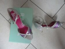 RAVEL Silver/Pink Glitter Heeled Open-Toe Shoes - Size 4
