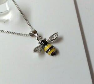 Genuine Sterling Silver CZ Solid Manchester Bumble Bee 18 inch Pendant.