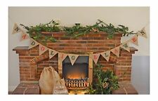 NADOLIG LLAWEN Christmas Garland Home Decoration Hessian Bunting Burlap Banner